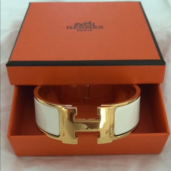 Hermes Jewelry   Clic Clac H Creme Gold Bracelet   Poshmark 229c6ed66ea